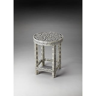Butler Bone Black Wood/MDF/Resin Inlay Accent Table