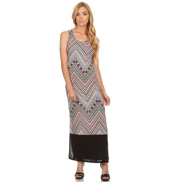 MOA Collection Women  x27 s Multicolored Polyester and Spandex Sleeveless  Maxi Dress 874e9b87e0d5