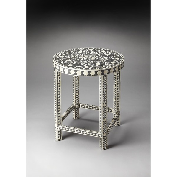 Merveilleux Handmade Butler Bone Inlay Wood And Resin End Table