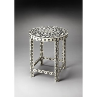 Handmade Butler Bone Inlay Wood and Resin End Table (India)