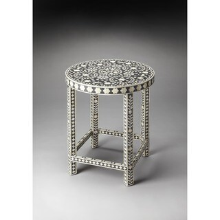 Handmade Butler Bone Inlay Wood and Resin End Table