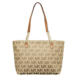Michael Kors Jet Set Beige/ Ebony/ Luggage East/West Chain Tote Bag