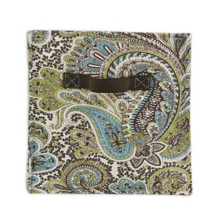 "Paisley Chocolate Soft Sided Storage Container 11""""h x10.75w with Brown Canvas Handle"