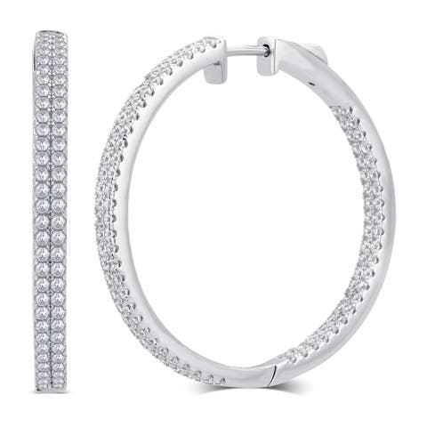 Divina Sterling Silver 1-carat Total Weight Cubic Zirconia Inside and Outside Hoop Earrings