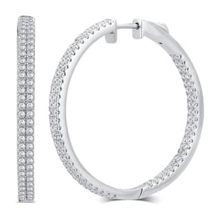 Divina Sterling Silver 1-carat Total Weight Cubic Zirconia Inside and Outside Hoop Earrings|https://ak1.ostkcdn.com/images/products/12065336/P18934202.jpg?impolicy=medium