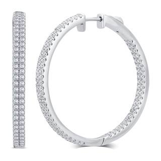 Divina Sterling Silver 1 Carat Total Weight Cubic Zirconia Inside And Outside Hoop Earrings