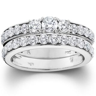 10k White Gold 2ct TDW 3-stone Diamond Engagement Wedding Ring Set (I-J, I2-I3)
