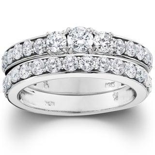 10k White Gold 2ct TDW 3-stone Diamond Engagement Wedding Ring Set