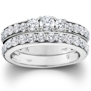 10k White Gold 2ct TDW 3-stone Diamond Engagement Wedding Ring Set