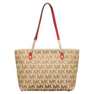 Michael Kors Jet Set Beige/ Ebony/ Red East/West Chain Tote Bag