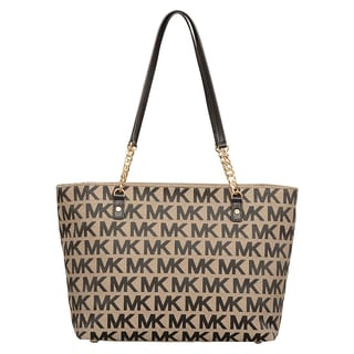 Michael Kors Jet Set Beige/ Black/ Black East/West Chain Tote Bag