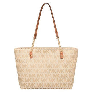 Michael Kors Jet Set Beige/ Camel/ Luggage East/West Chain Tote Bag