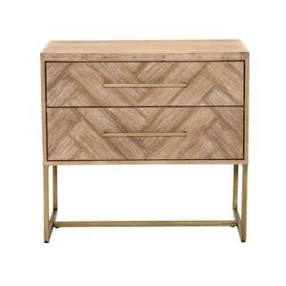 Gray Manor Laurel Beige Distressed Wood Nightstand