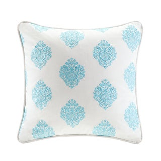 Echo Design Painted Paisley Cream/Aqua Cotton Square Pillow