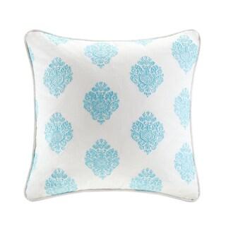 Echo Design Painted Paisley Cream/Aqua Cotton Square Pillow