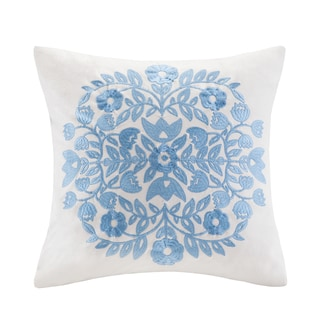 Echo Design Painted Paisley Cream/Blue Cotton Square Pillow