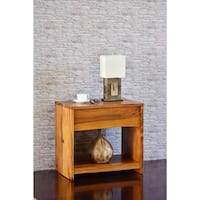 Cayu Live Edge Brown Natural Finish Acacia Nightstand with Drawer