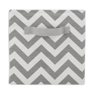 Zigzag Ash White/Grey Fabric 11-inch x 10.7-inch Storage Bin With Handle