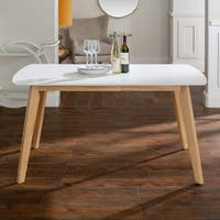 """60"""" Two-Tone Retro Dining Table - White/Natural - 60 x 35 x 30h"""