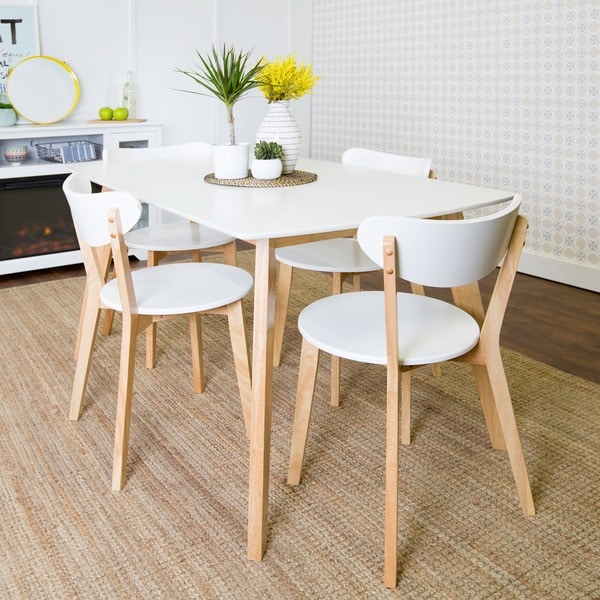 Beautiful 5 Piece Retro Modern Wood Dining Set