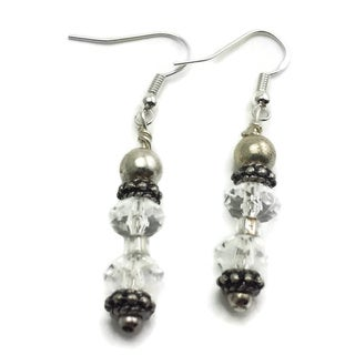 Mama Designs Handmade Grey and Clear Beaded Sterling Silver Drop Style Earrings