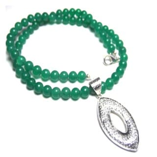 Green Onyx Marquise Silver Necklace
