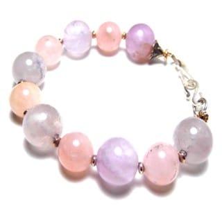Rose Quartz Amethyst Chunk Bracelet