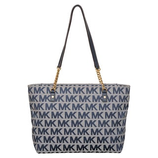 Michael Kors Jet Set Ivory/ Denim/ Navy East/West Chain Tote bag