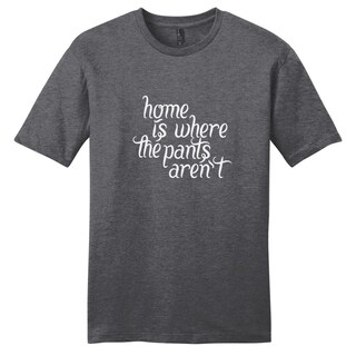 Sweetums Unisex 'Home is where Your Pants Aren't' Grey Cotton T-Shirt