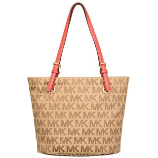 Michael Kors Jet Set Item Beige/ Ebony/ Red Tote Bag