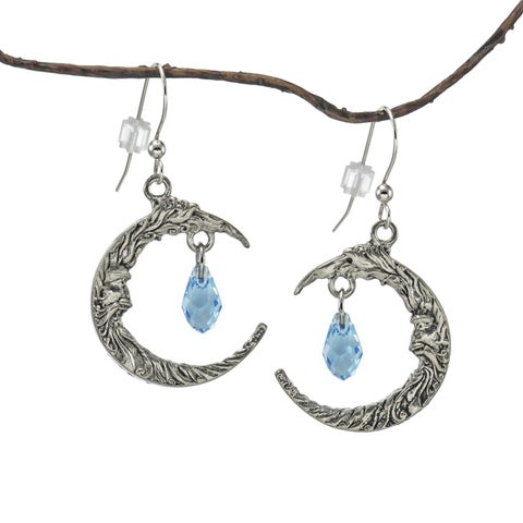 Handmade Jewelry by Dawn Antique Pewter Crescent Moon Blue Crystal Earrings (USA)