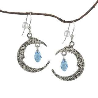 Jewelry by Dawn Antique Pewter Crescent Moon Blue Crystal Earrings