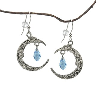 Handmade Jewelry by Dawn Antique Pewter Crescent Moon Blue Crystal Earrings