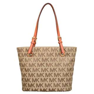 Michael Kors Jet Set Item Beige/ Ebony/ Burnt Orange Tote Bag