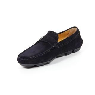 Giorgio Armani Men's Silvertone Logo Black Moccasins|https://ak1.ostkcdn.com/images/products/12065548/P18934390.jpg?impolicy=medium