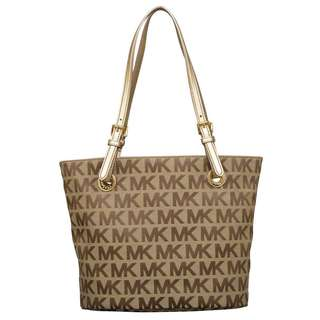 Michael Kors Jet Set Item Beige/ Ebony/ Gold Tote Bag