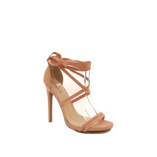 Hadari Women's Peach Open Toe Lace Up Stiletto Heel