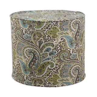 Paisley Chocolate 20-inch Round x 17-inch High Corded Foam Ottoman