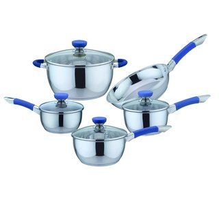 Culinary Edge 9 Piece Stainless Steel Cookware Set, Blue