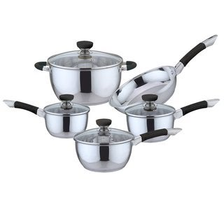 Culinary Edge 9 Piece Stainless Steel Cookware Set, Black