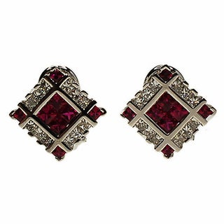 Kabella 18k White Gold Ruby with Diamond Accent Earring