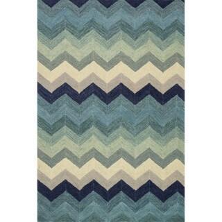 Hand-hooked Tessa Multi/ Blue Wool Rug (3'6 x 5'6)