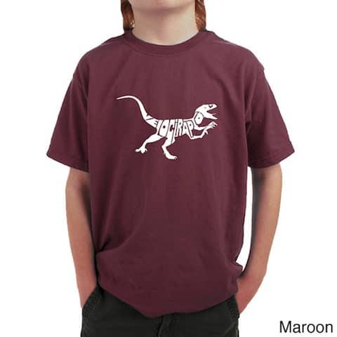 Boy's Velociraptor Black Cotton T-shirt