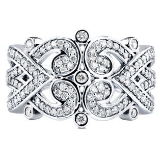 Annello 10k White Gold 1/2ct TDW Diamond Tidal Filigree Edwardian Anniversary Band (H-I, I1-I2)