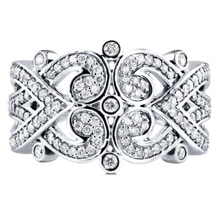 Annello by Kobelli 10k White Gold 1/2ct TDW Diamond Tidal Filigree Edwardian Anniversary Band