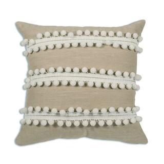 Jefferson Linen White Pom Pom  17X17 KE  Pillow
