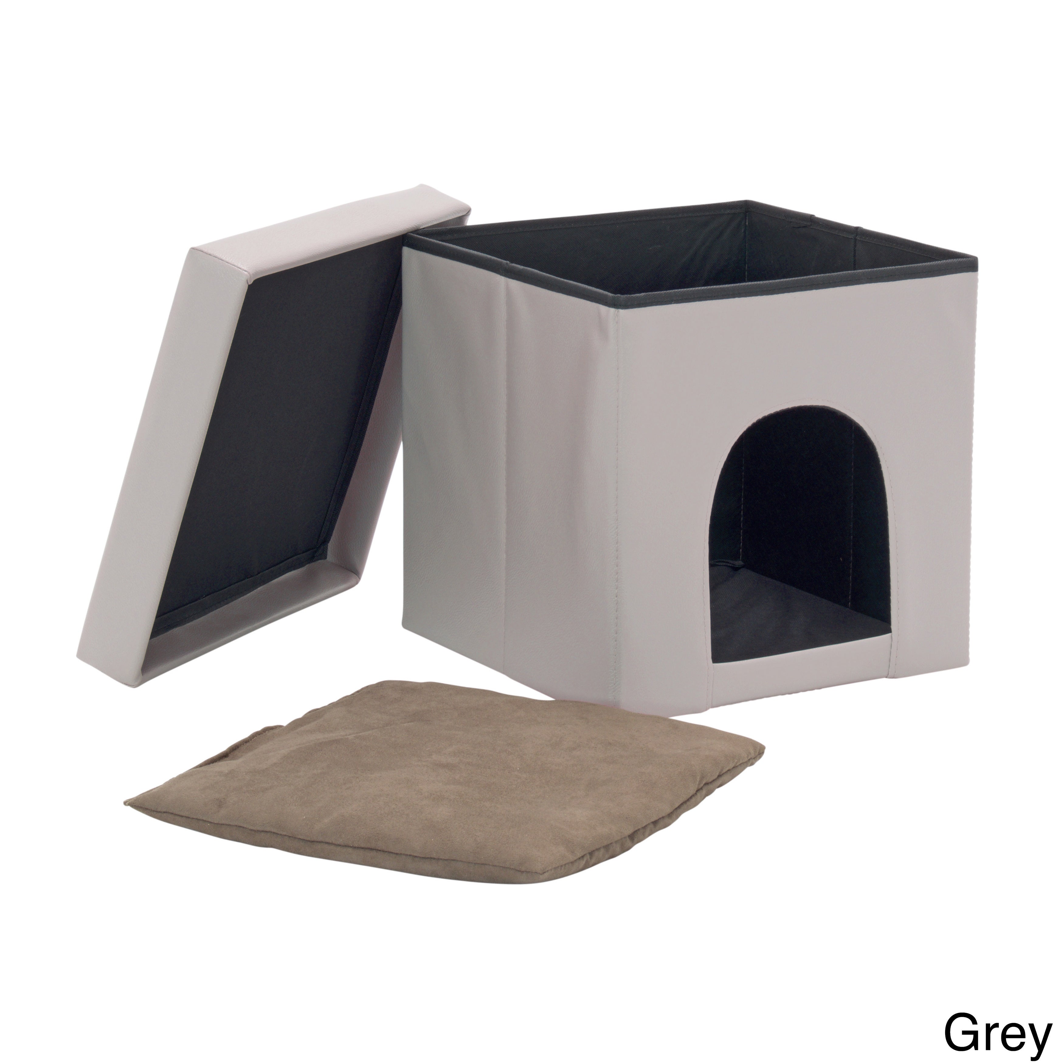 Studio Designs Collapsible Pet Bed and Ottoman (Grey)
