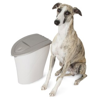 Aspen White/Tan Plastic Pet Kibble Keeper and Pet Food Storage with Microban