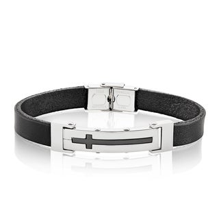 Men's High Polish Stainless Steel Cross ID Leather Bracelet - 8 inches (10mm Wide)