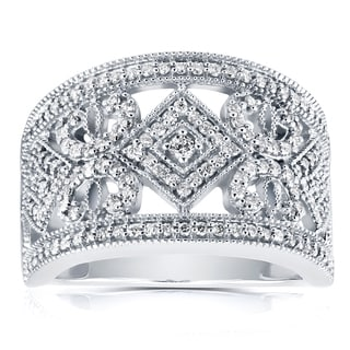 Annello 10k White Gold 1/2ct TDW Diamond Filigree Edwardian Milgrain Anniversary Band (H-I, I1-I2)